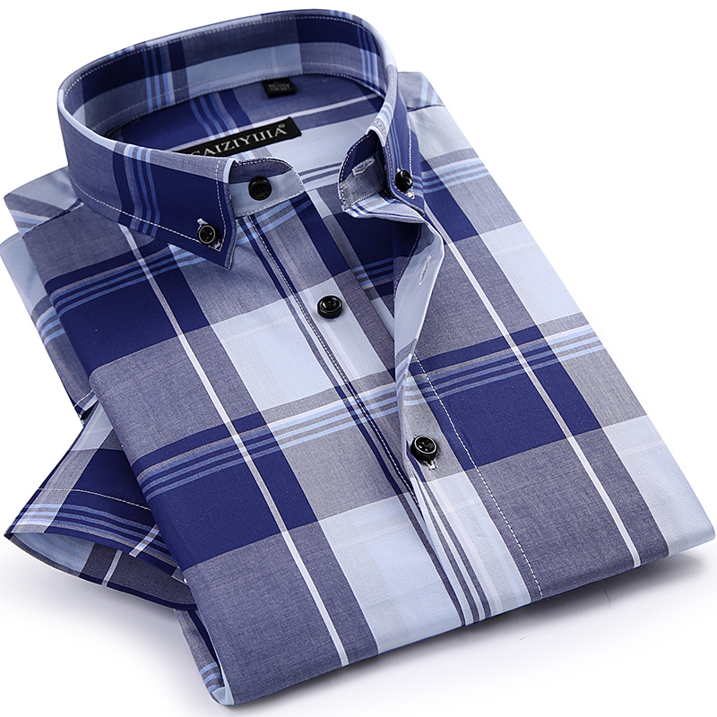CAIZIYJIA Hot Sale Summer Style Plaid Mens Shirt Fashion Short Sleeve Casual Shirt High Quality Cotton Brand Clothing Size S 4XL