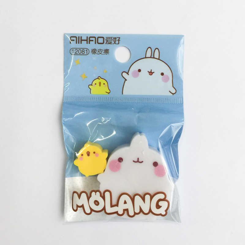 2 шт./пакет Molang Pet + утка резиновый ластик ластики коррекции школьные канцелярские принадлежности студент подарок для детей