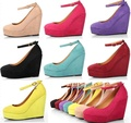 spring and autumn women wedges shoes wedges pumps high heels platfrm wedges pumps candy color round toe wedding party shoes