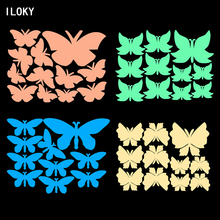 New 3D wall stickers for kids rooms green Luminous Butterfly decor cute Butterflies art Decals home