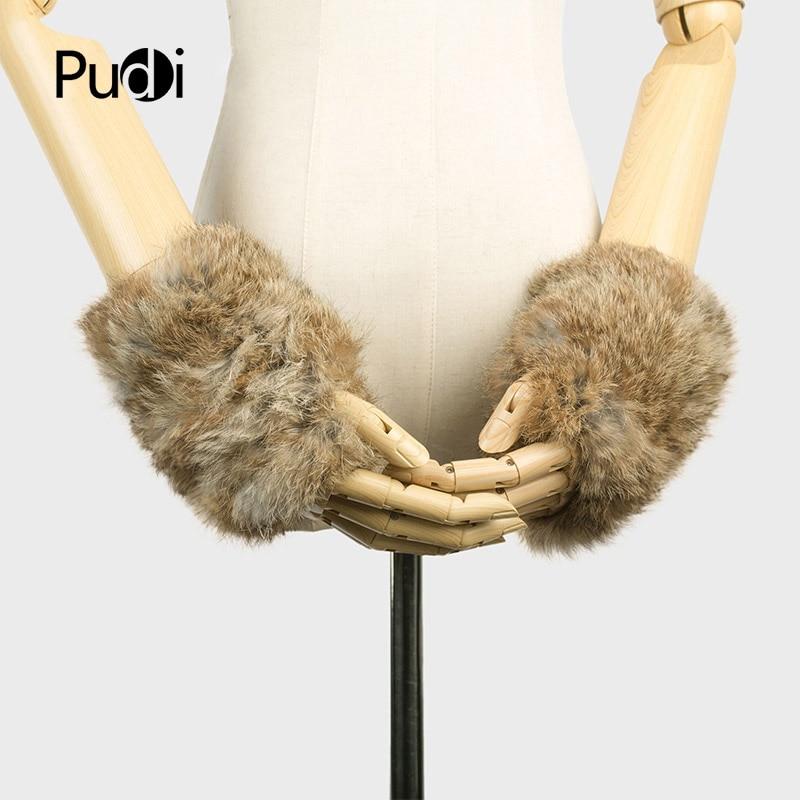 Pudi GF704 ar rokām darinātas trikotāžas kažokādas auduma īsta REX truša kažokādas cimdi ziemas cimdi dūraiņi ar rokām