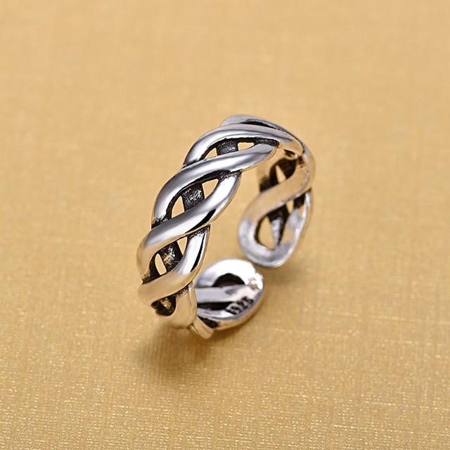 925 Sterling Silver Bạc Mở Nhẫn Đối Với Phụ Nữ Gốc Handmade Sterling Silver Bạc Quanh Co Twist Hollow Nhẫn Đồ Trang Sức