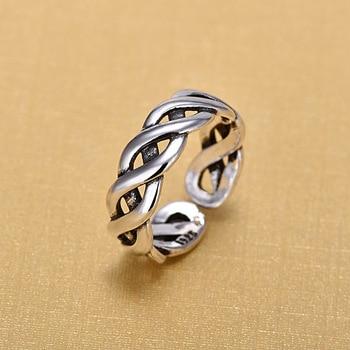 925 Sterling Silver Open Rings For Women Original Handmade Winding Twist Hollow Jewelry