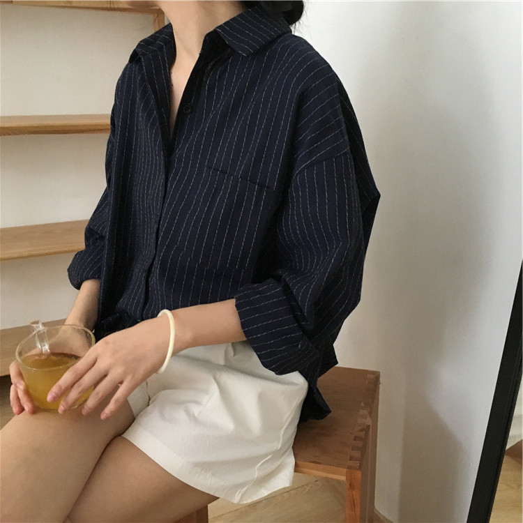 19 Mazefeng Spring Autumn Female Shirts Women Striped Shirts Office Lady Style Women Shirts Solid Fashion Long Sleeves 11