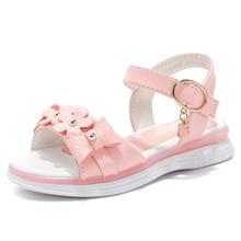 CSXD Girls Sandals Summer Kids Shoes Pink Leather Open Toe Princess Sandals Flower Bowknot Girls Beach Sandals 2017 New For Sale