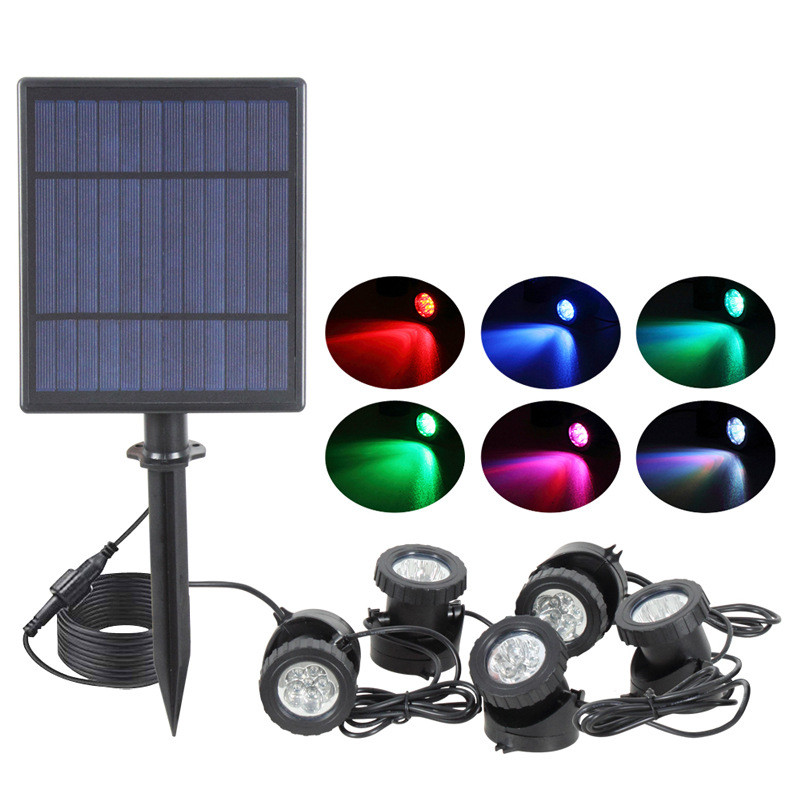 Solar Light Waterproof IP68 Lamp RGB 30leds Underwater Spot Light For Swimming Pool Fountains Pond Water Garden Aquarium