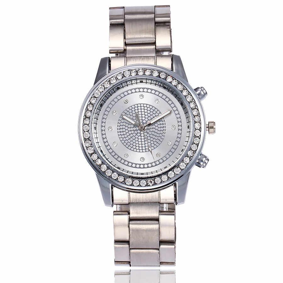 Reloj de pulsera de cuarzo analógico de acero inoxidable de lujo con esfera grande y diamantes para mujer 2020 # YL5