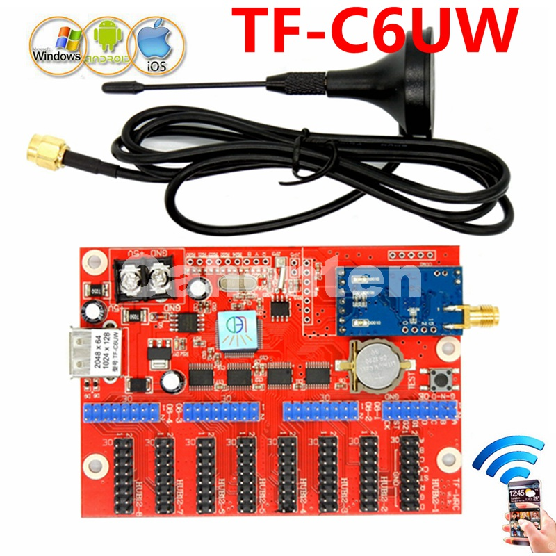 TF-C6UW(TF-WIFI-C) Wireless WIFI+USB port LED control card 2048*64pixels single/dual/full color screen sign module drive board u 3 usb sd asynchronous full color video led control card 384 128 768 64pixels u disk rgb module led screen drive system