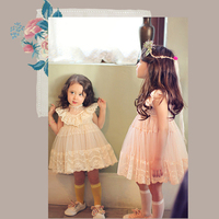 2016 New Baby Girl Dresses With Sheer Lace Children Girl Birthday Party Princess Korean Style Floral