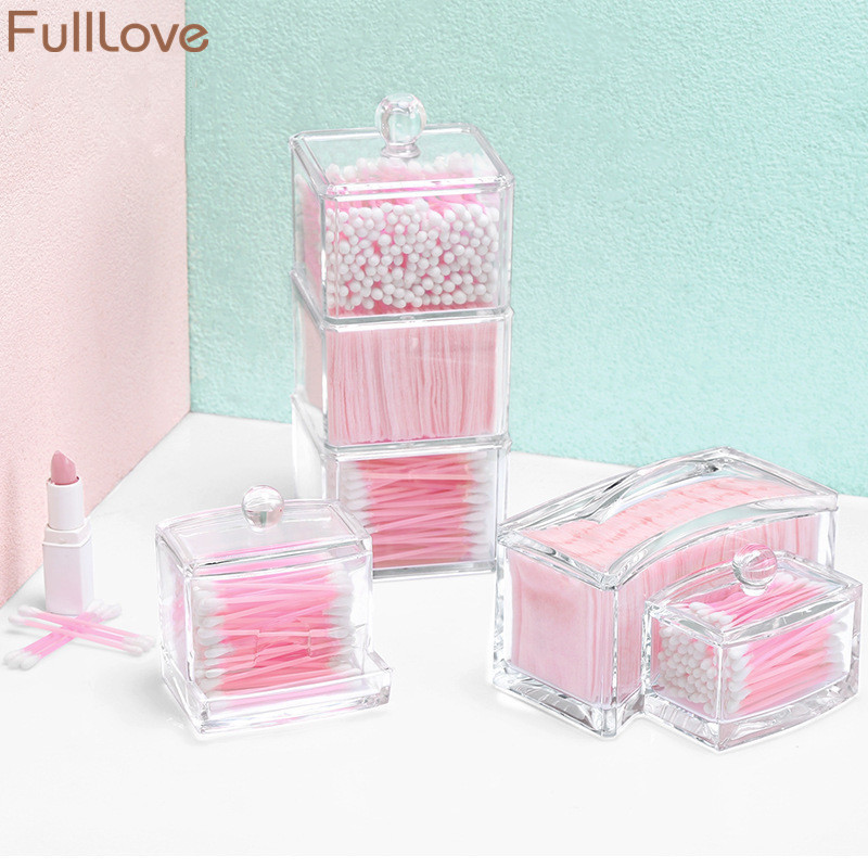 FullLove 2018 New Acrylic Clear Storage Box for Cotton Swabs Cotton Pads Container Case Cosmetic Organizer Storage Boxes & Bins