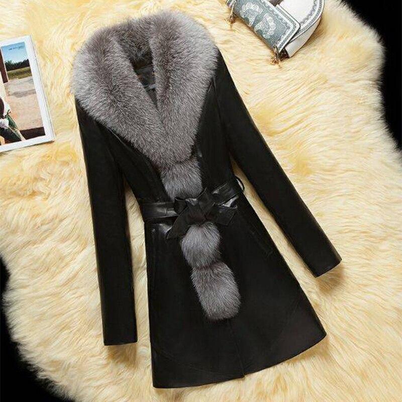 VENFLON 2019 Printemps En Cuir Faux Manteau De Fourrure Femmes grande taille Longue Veste Femelle décontracté Faux Renard col de fourrure Survêtement 4XL Pardessus