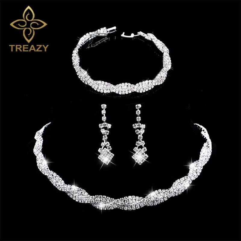 Dazzling Silver Plated Rhinestone Crystal Wedding Jewelry Set Choker Necklace Earrings Bracelet Set Charm Bridal Jewelry Sets
