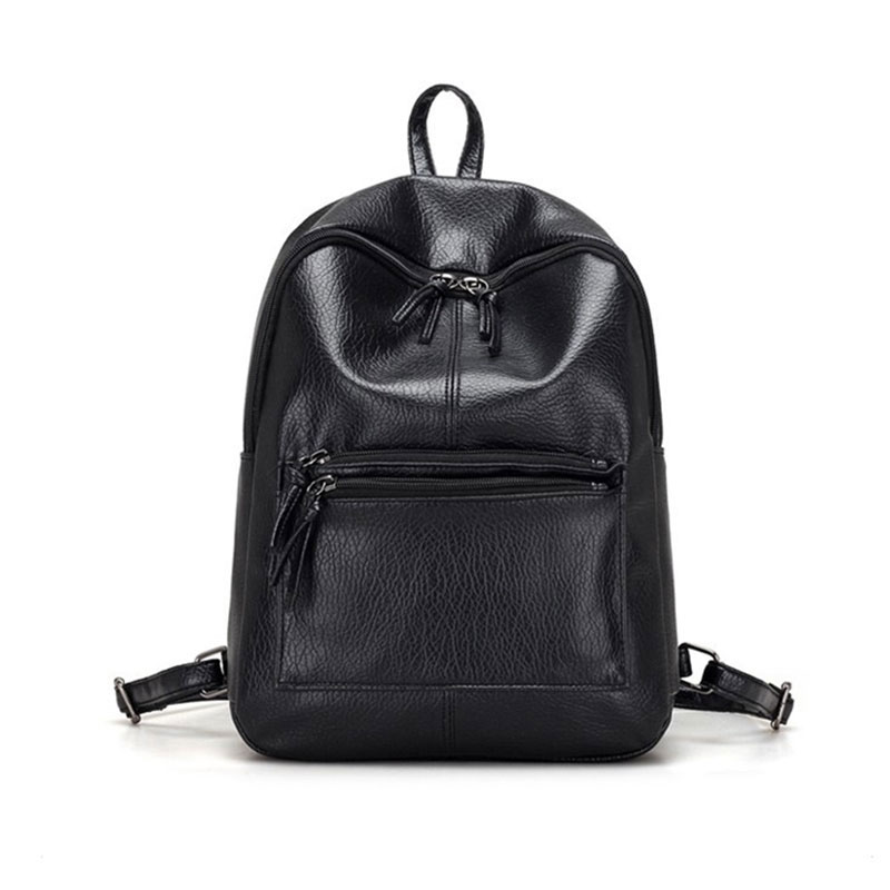 Fashion Women PU Leather Backpack For Teenage Girls Zipper School Bags Travel Shopping Bag Popular