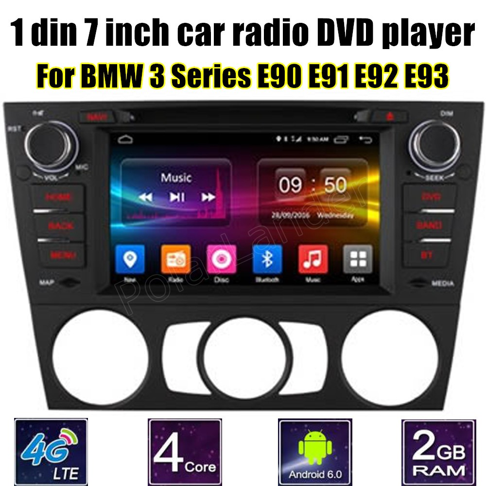 1 din <font><b>7</b></font> inch Car DVD GPS radio video player For BMW <font><b>3</b></font> Series E90 E91 E92 E93 GPS WIFI 4G SIM LTE Android 6.0 image
