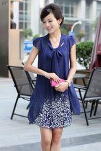 2018 New summer clothing women's shirts print chiffon maternity blouse pregnancy dress matertniy clothing