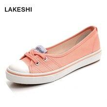 LAKESHI Summer Women Flats Shoes Fashion Canvas Shoes Women