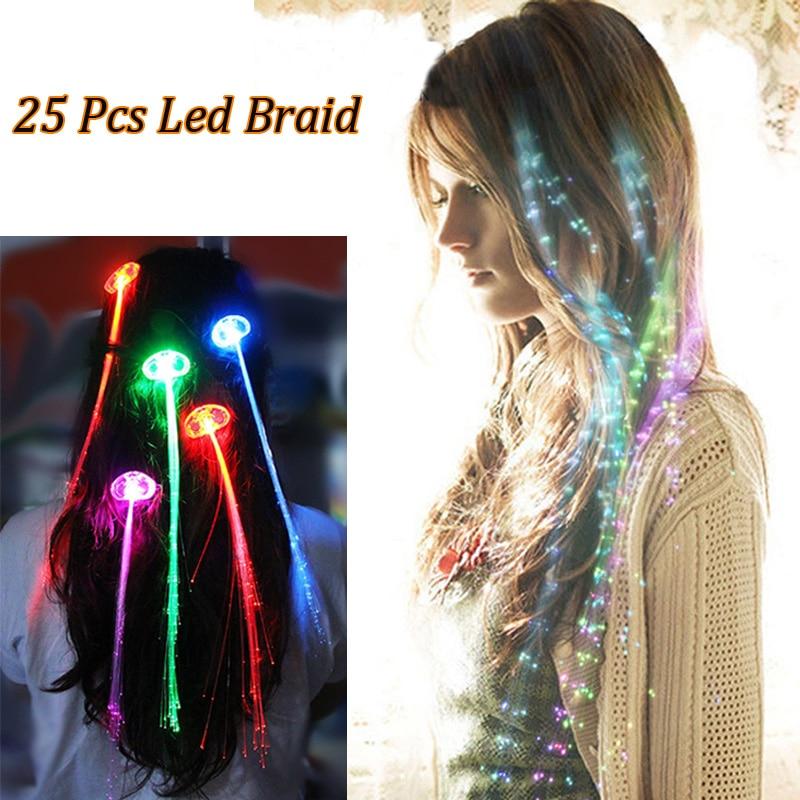 25 Pcslot Flash Glow Led Braid Hairpin Novelty Decoration For