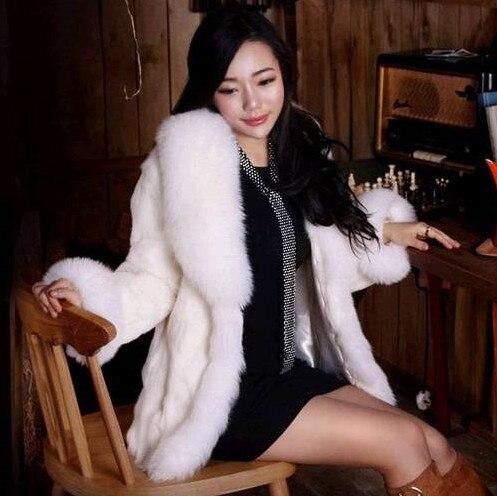 Осень Зима Роскошные для женщин лиса Мех животных кролик пальто белый искусственный мех Меховая куртка Верхняя одежда плюс размеры Размеры...