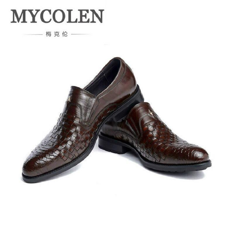 MYCOLEN Men's Leather Lace-Up Dress Shoes Luxury Mens Business Office Oxfords Man Casual Wedding Flats Sapatos Social Masculino 2017 men shoes fashion genuine leather oxfords shoes men s flats lace up men dress shoes spring autumn hombre wedding sapatos