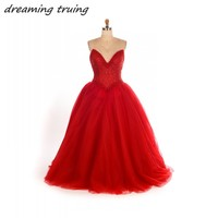 2018 Sparkly Red Quinceanera Dresses Heavy Beading Long Puffy Tulle Ball Gowns Sweet 16 Year Princess Dresses For 15 Years