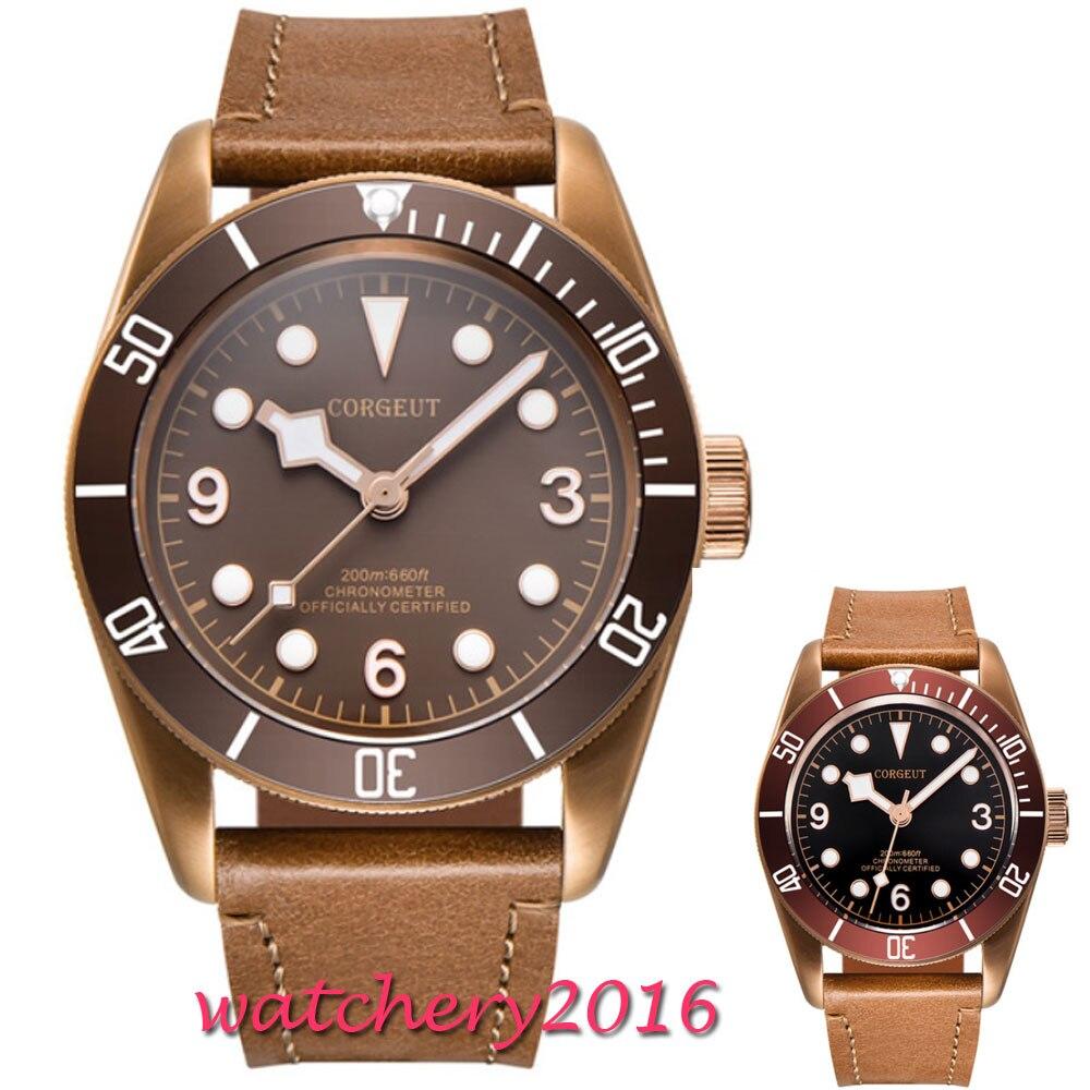 41mm Corgeut czarna tarcza szafirowe szkło romantyczna słodka super świecenia data luksusowa marka Miyota mechanizm automatyczny zegarek męski w Zegarki mechaniczne od Zegarki na  Grupa 1