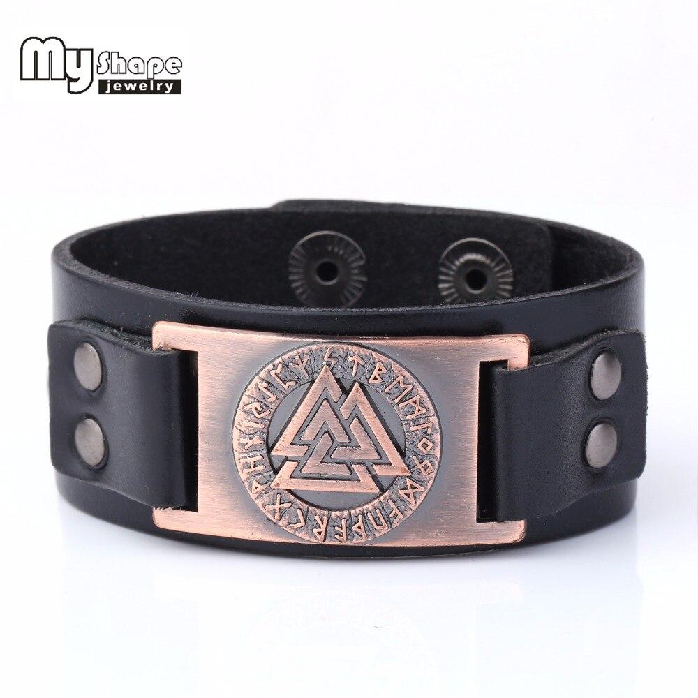 Ma Forme Slave Norvège Valknut Païen Amulette En Cuir Bracelet En Métal Graver Runes Bracelet Scandinave Viking L'europe bijoux