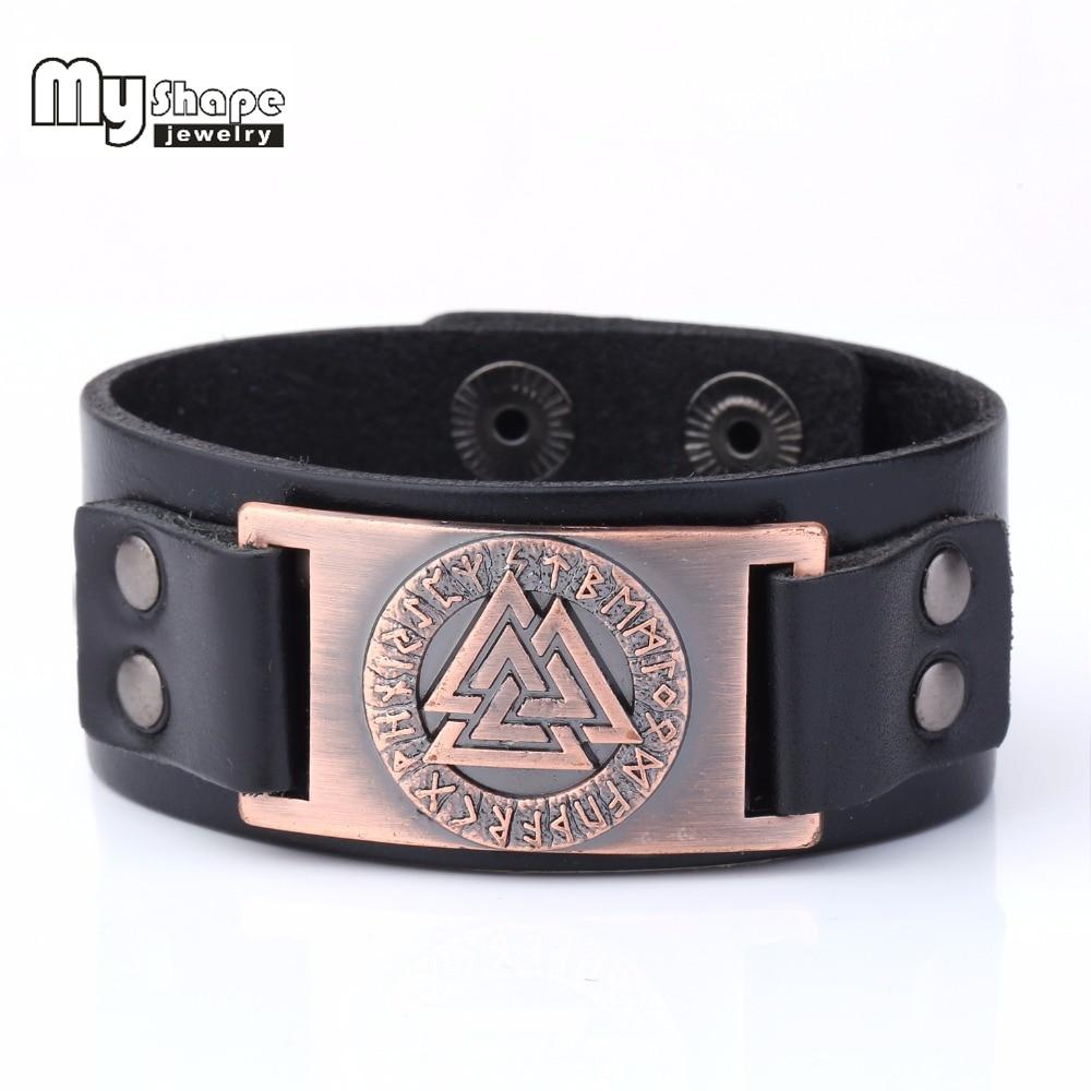 My Shape Slavic Norway Valknut Pagan Amulet Leather Bracelet Bangle Metal Engraved Scandinavian Viking Boho jewelry
