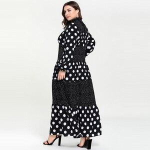 Image 2 - Kobiety Ruffles stanąć szyi kropki Maxi długie sukienki Vestidos z długim rękawem w paski łatka muzułmańskie Abaya strój islamski m 4xl