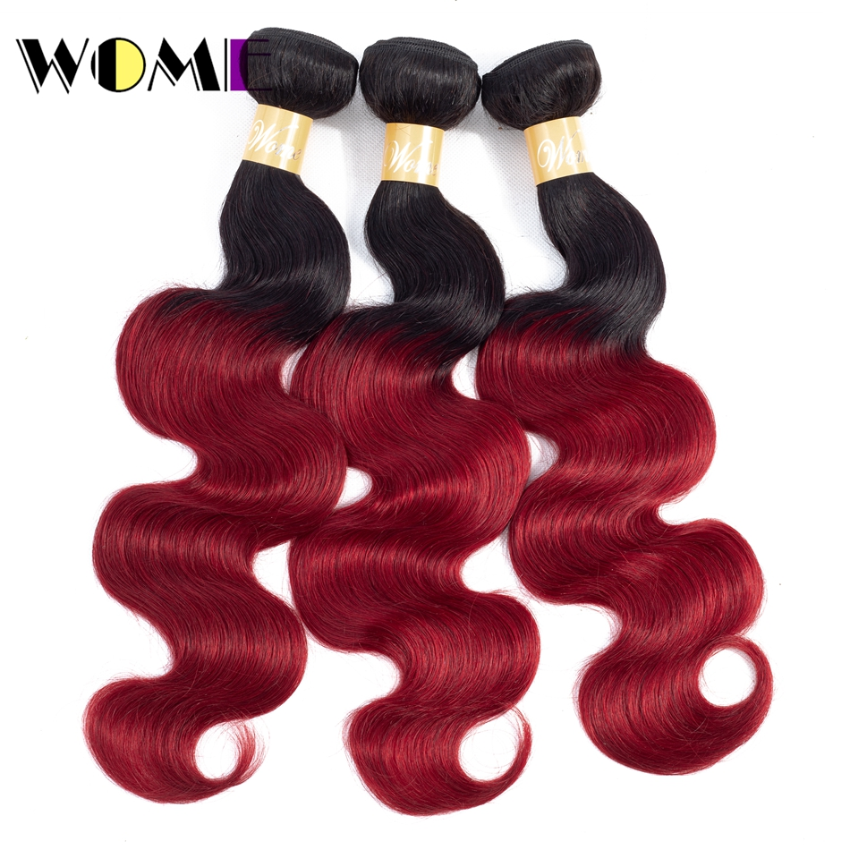 Wome Pre-Colored 1b/Burgundy Ombre Mongolian Hair 1/3 Bundles Black To Red Hair Weave Bundles Body Wave Non-remy Hair Extensions