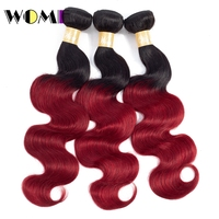 Wome Pre Colored 1b/Burgundy Ombre Mongolian Hair 1/3 Bundles Black To Red Hair Weave Bundles Body Wave Non remy Hair Extensions
