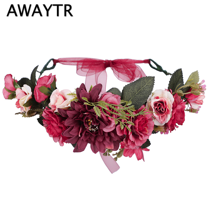 AWAYTR Flower Crown Women Flower Wedding Hair Accessories Girls Fashion Wreath Floral   Headwear   Bridesmaid Floral Headband