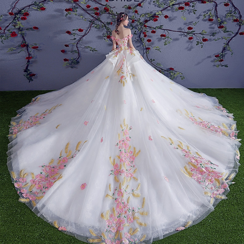 Marfoli Luxury Wedding Dresses 2018 With Flowers Lace up A Line Off the shoulder Bridal Gown Real Photo Customize WD1801