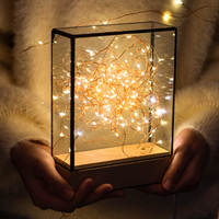 Nordic fire tree silver flower cross section square lamp birthday gift Christmas gift creative night light LED table lamp
