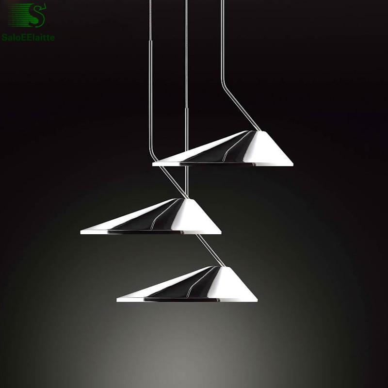 Nordic Minimalism Irregular Aluminium Led Pendant Lights Lustre Chrome PVC Led Pendant Lamp Bedroom Led Hanging Light Fixtures