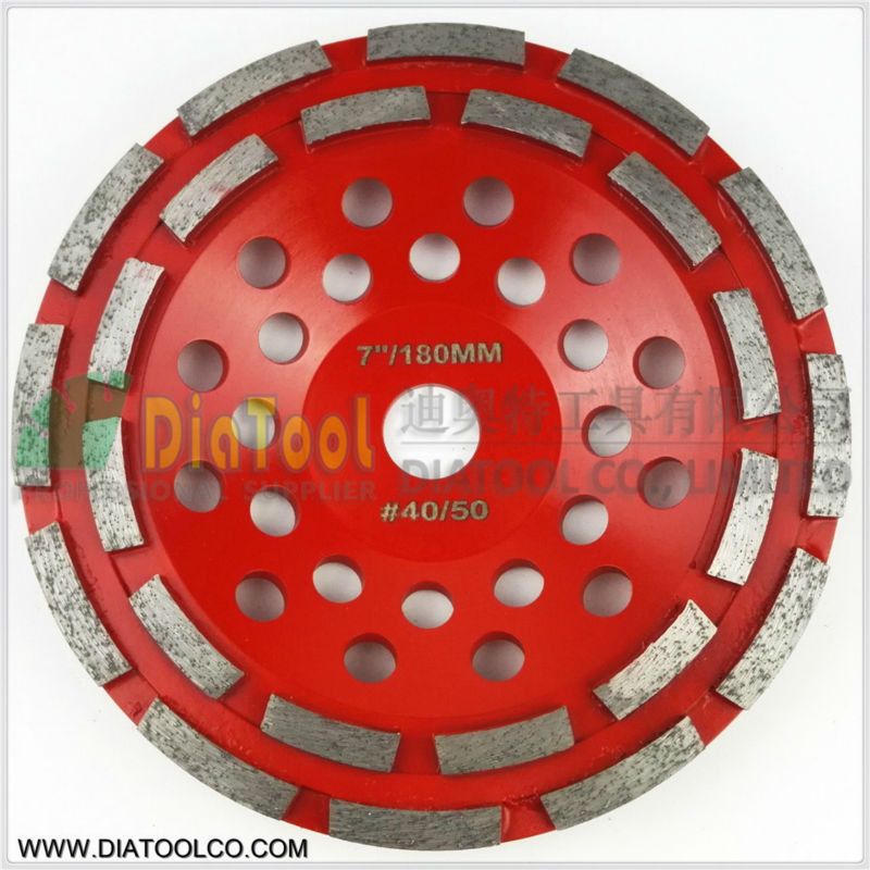 DIATOOL Professional Diamond Double Row Grinding Cup Wheel For Concrete, Diameter 7/180mm Bore 22.23mm With16mm Reducer 2pcs 5inch diamond single row cup wheel for concrete masonry diamond grinding wheel diameter 125mm bore 22 23mm grinding disc