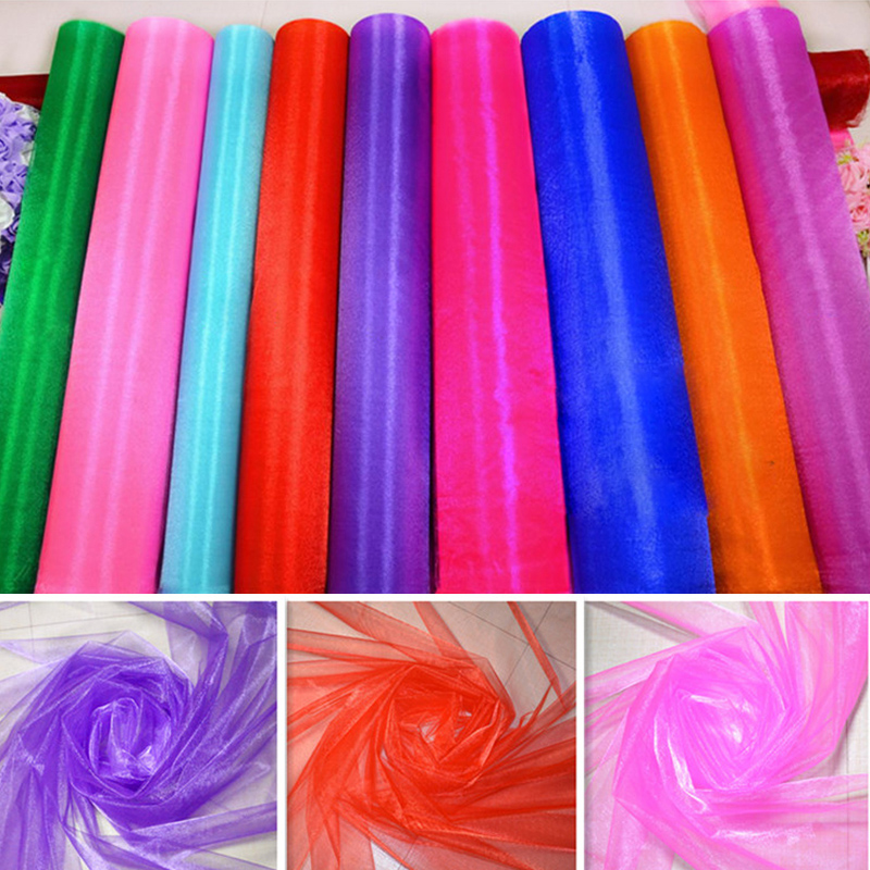 HAOCHU 150cmX5m Crystal Organza Sheer Fabric För DIY Bordslöpare Chair Sashes Bröllopsdekoration Event Party Festival Tillbehör