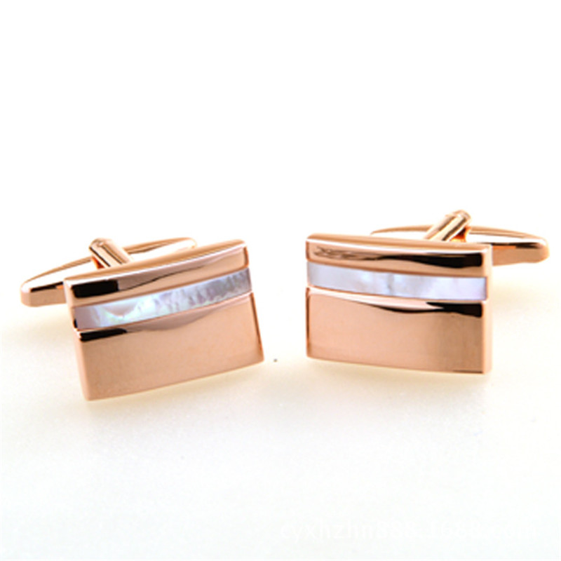 DoreenBeads Alloy Rose Gold Fashion Cufflinks Gold Rectangle Natural Shell Line Personality Gift For Men Cuff Link ,1 Pair цена 2017