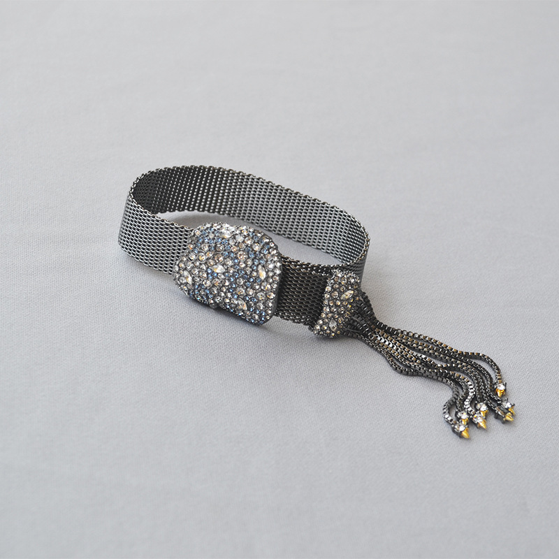 European and American luxury full drill gun black length adjustable atmospheric tassel flash drill bracelet