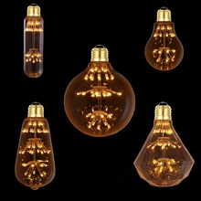 T30 A19 ST58 G95 G125 Diamond, 3W 2200K,Vintage LED Light Bulb,Fireworks Starry,Decorative For Pendant Lamp,Dimmable