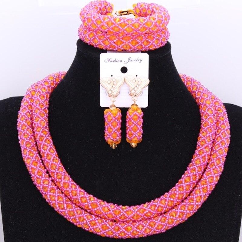 Mix Hot Pink & Orange 2 Layers African Nigerian Bridal Necklace Set of Beads Fashion Dubai Big Jewelry Set Free Shipping 2018Mix Hot Pink & Orange 2 Layers African Nigerian Bridal Necklace Set of Beads Fashion Dubai Big Jewelry Set Free Shipping 2018