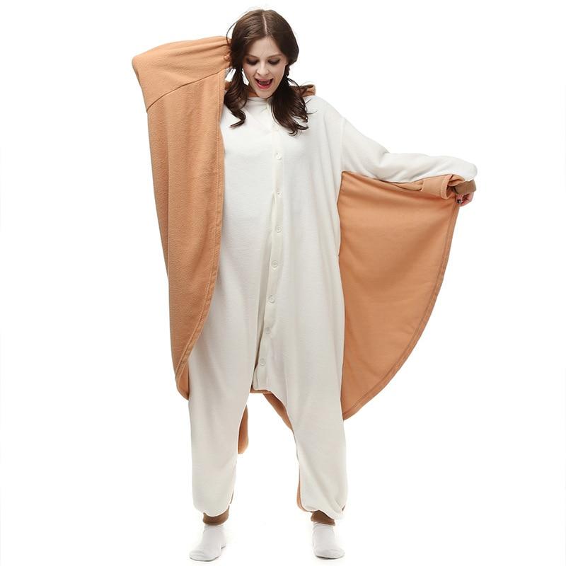 Animaux de bande dessinée Kigurumi Écureuil Volant Onesies Pyjamas Unisexe Adulte Pyjamas Cosplay Costume Animal Onesie Nuit Salopette
