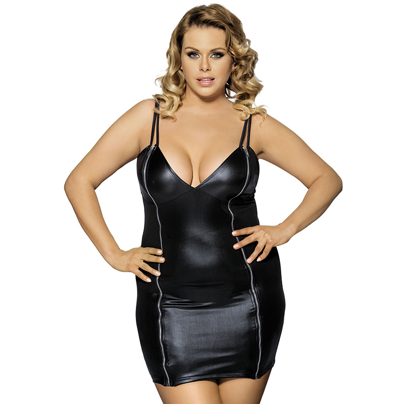 2016 Hot Style Faux Leather Dress V neck Lingerie Fashion Nightdress For Women Exotic Clothes Sexy