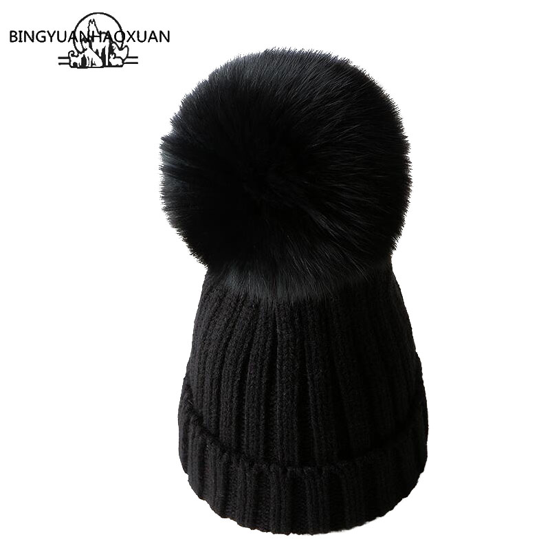 BINGYUANHAOXUAN Mink And fox Fur Ball Cap Pom Poms Winter Hat For Women Girl Hat Knitted Beanies Cap Brand New Thick Female Caps