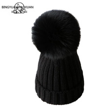 BINGYUANHAOXUAN Mink And fox Fur Ball Cap Pom Poms Winter Hat For Women Girl Hat Knitted Beanies Cap Brand New Thick Female Caps стоимость