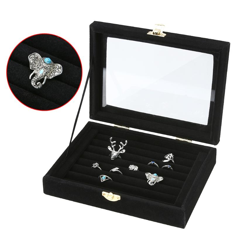 Velvet Jewelry Box Organizer Display Storage Glass Cover Holder Rack For Ring Earring Necklace Jewellery