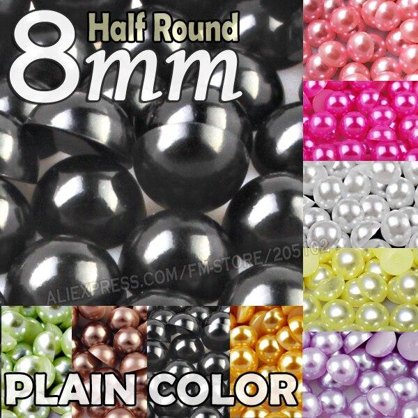 8mm 200 sztuk/partia zwykłe kolory białe półokrągłe perły koraliki sztuczna ABS mieszkanie powrót perła na klej DIY Nail Art biżuteria