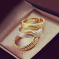 Yellow, Rose & White Gold Plated Stylish Triple Ring Set Finger or Middle Ring Women Costume Jewelry
