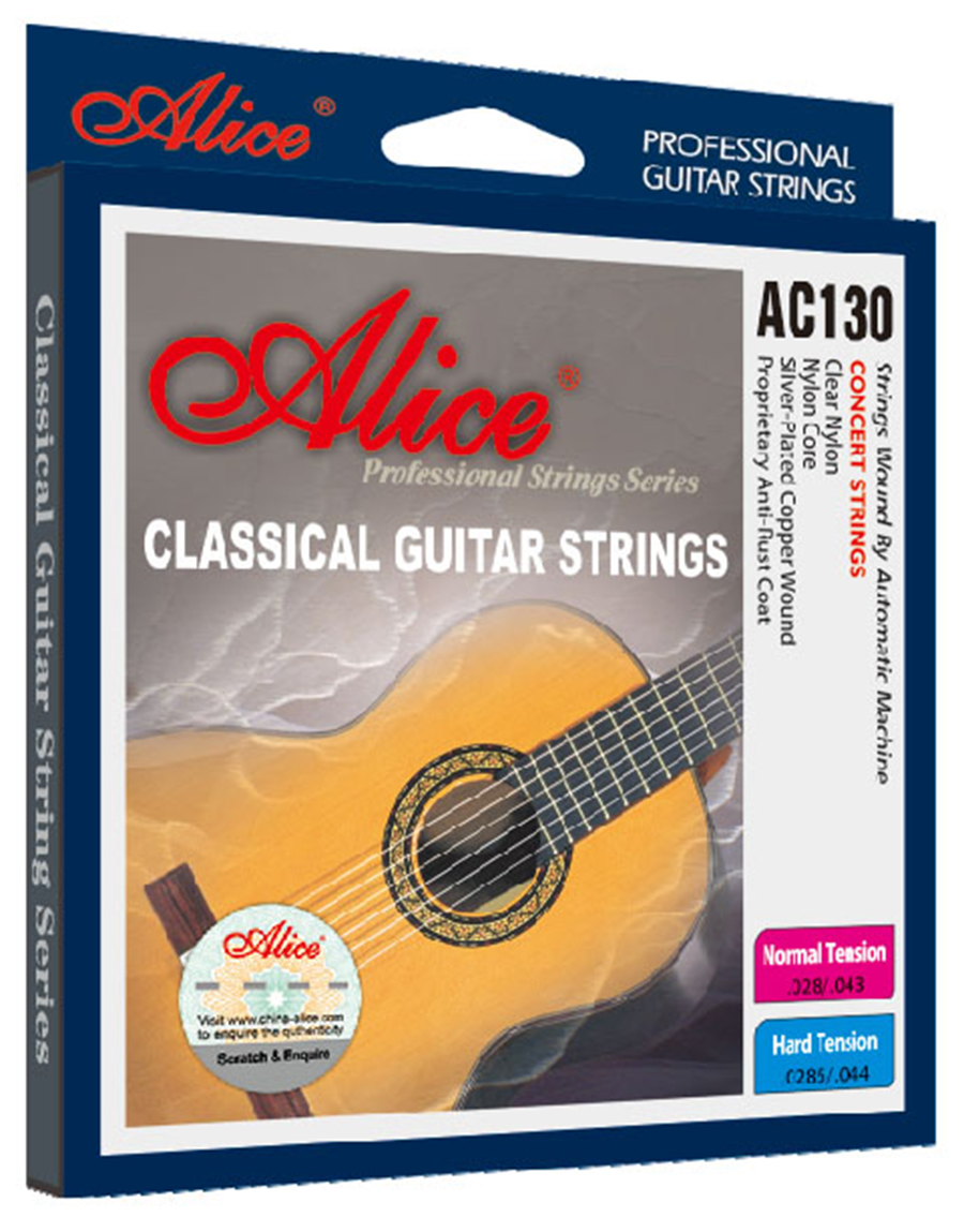 Classical Guitar Strings Clear Nylon Silver-plated Copper Wound Alice AC130 3 sets alice aw466 light acoustic guitar strings plated high carbon steel