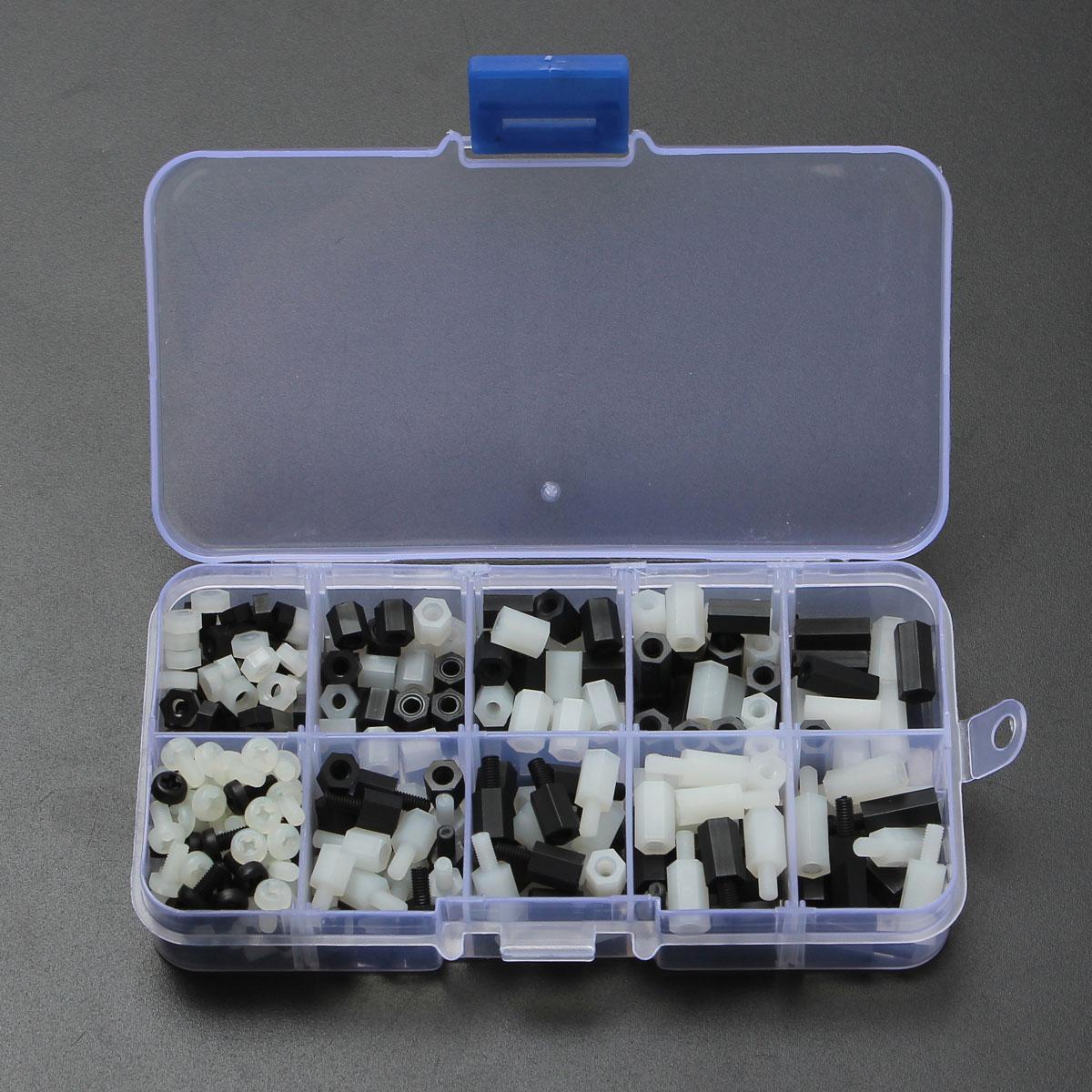 300 Pz/set M3 Nylon Hex Spacer Vite Dado Kit Separatore Stand Off Standoff Set PCB Nero Bianco di Fissaggio Hardware Affidabile