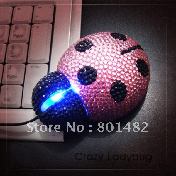 free shipping  4 color  Beetles seven Diamond mouse Diamond beetle Optical Mouse